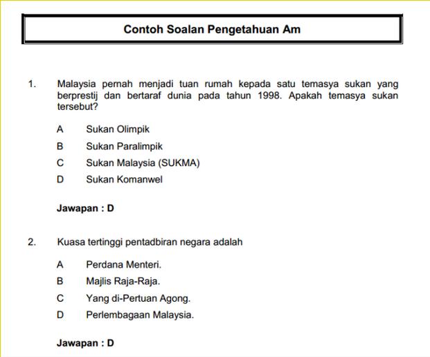 Contoh Soalan Peperiksaan Penolong Pegawai Belia dan Sukan S27